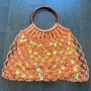 Orange crochet purse